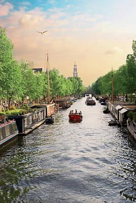 Netherlands, Amsterdam, Boats Cruise Art Print