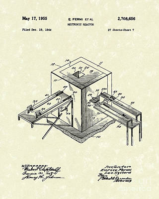 Drawing - Neutronic Reactor 1955 Patent Art by Prior Art Design