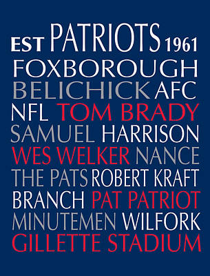 New England Patriots Art Print by Jaime Friedman