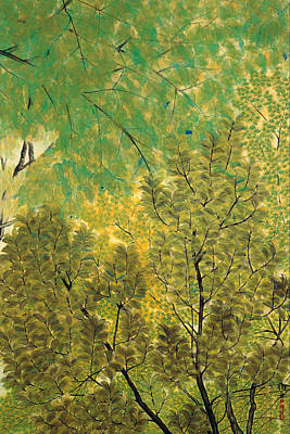 On Silk Painting - New Leaves by Mountain Dreams