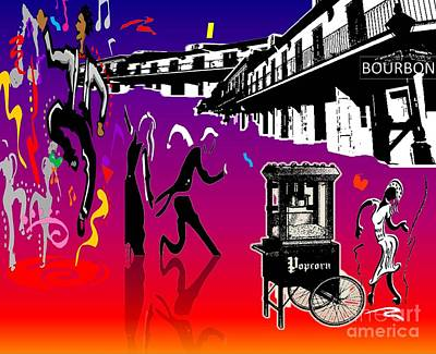 Drawing - New Orleans Dancing In Street by Belinda Threeths