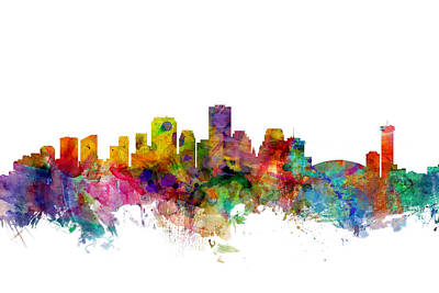 Silhouette Digital Art - New Orleans Louisiana Skyline by Michael Tompsett