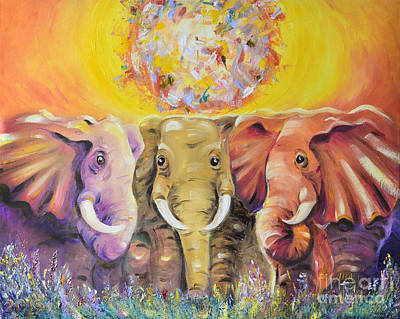 Painting -  Elephants by Alla Dickson