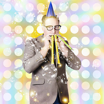 New Years Eve Man Celebrating At A Countdown Party Art Print