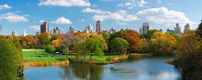 Photograph - New York City Manhattan Central Park Panorama by Songquan Deng
