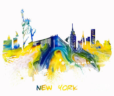 New York Skyline Digital Art - New York City Skyline by Justyna JBJart