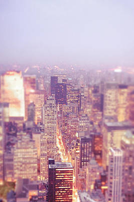 Skylines Photograph - New York City - Skyline Lights At Dusk by Vivienne Gucwa