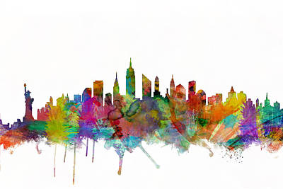 Watercolour Digital Art - New York City Skyline by Michael Tompsett