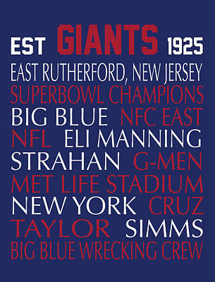 New York Giants Art Print by Jaime Friedman