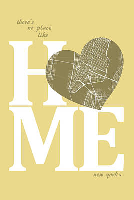 Road Digital Art - New York Map Home Heart - New York City New Yorkroad Map In A He by Jurq Studio