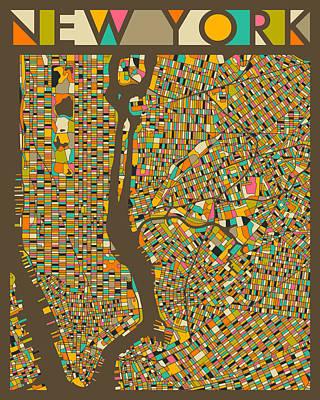 New York City Map Digital Art - New York Map by Jazzberry Blue