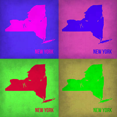 Modern Poster Painting - New York Pop Art Map 1 by Naxart Studio