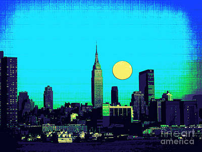 Skylines Mixed Media - New York Skyline  by Celestial Images