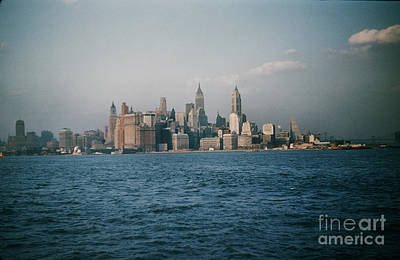 Photograph - New York Skyline As Seen From The Circle Line Ferry Manhattan New York City Circa 1957 by California Views Archives Mr Pat Hathaway Archives