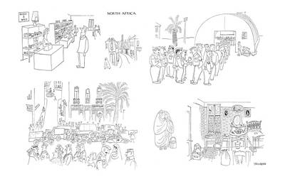 North Drawing - New Yorker April 29th, 1944 by Saul Steinberg