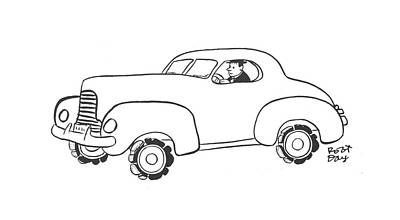 Driving Out Drawing - New Yorker January 17th, 1942 by Robert J. Day