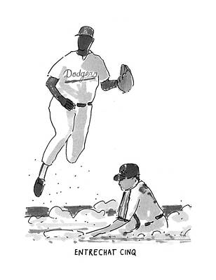 Baseball Drawing - New Yorker July 19th, 1993 by Michael Crawford