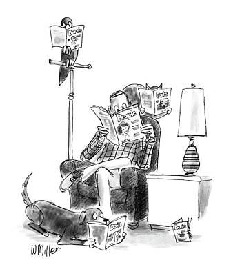 Read Drawing - New Yorker June 15th, 1987 by Warren Miller