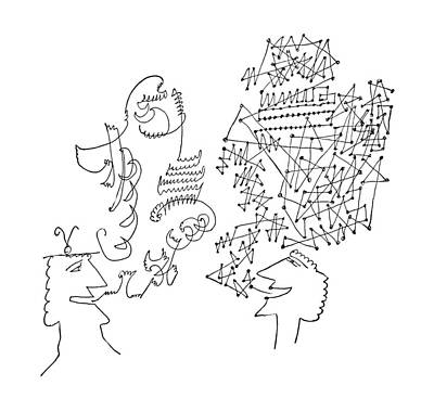 Speech Drawing - New Yorker June 1st, 1957 by Saul Steinberg