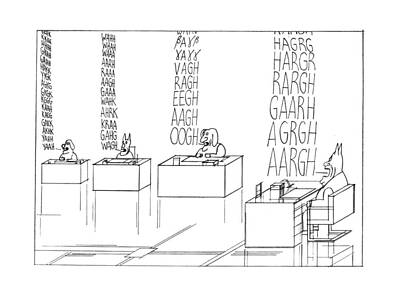 Talking Friends Drawing - New Yorker September 19th, 1977 by Saul Steinberg
