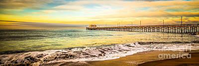 Southern California Sunset Beach Photograph - Newport Beach California Pier Panorama Photo by Paul Velgos