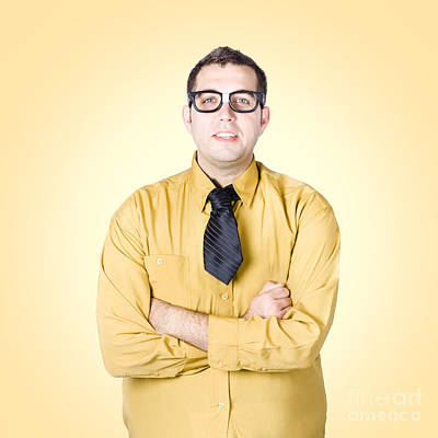 Nice Nerd Business Salesman On Yellow Background Art Print