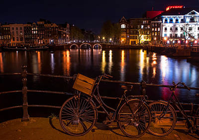 Night Lights On The Amsterdam Canals. Holland Art Print