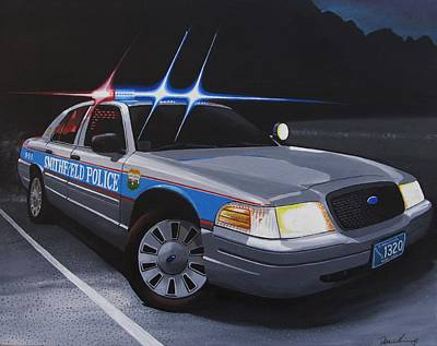Cop Painting - Night Patrol by Robert VanNieuwenhuyze