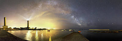 Virgo Photograph - Night Sky Over A Harbour by Laurent Laveder