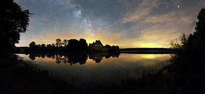 Antares Photograph - Night Sky Over A Lake by Laurent Laveder