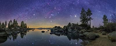 Sirius Photograph - Night Sky Over Lake Tahoe by Walter Pacholka, Astropics