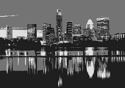 Digital Art - Night Skyline Bw3 by Scott Kelley