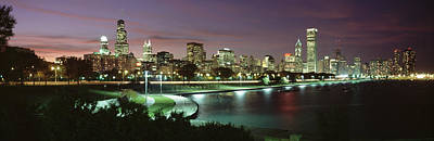 Chicago Il Photograph - Night Skyline Chicago Il Usa by Panoramic Images