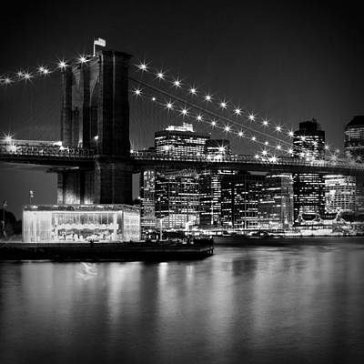 Night Skyline Manhattan Brooklyn Bridge Bw Art Print