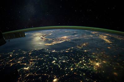 Night Time Satellite View Of Planet Art Print