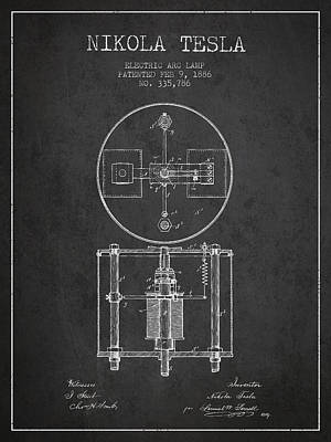 Nikola Tesla Patent Drawing From 1886 - Dark Art Print