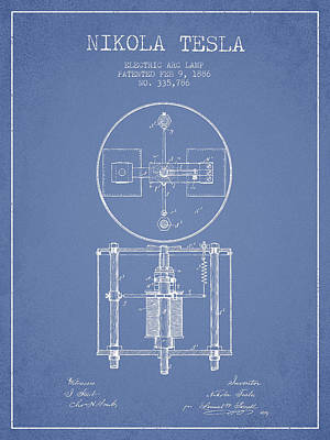 Nikola Tesla Patent Drawing From 1886 - Light Blue Art Print