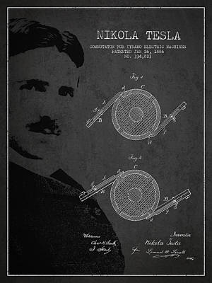 Electricity Digital Art - Nikola Tesla Patent From 1886 by Aged Pixel