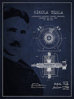 Technical Digital Art - Nikola Tesla Patent From 1891 by Aged Pixel