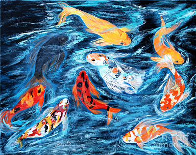 Good  Luck Painting. Nine Koi Fish. Inspirations Collection. Art Print