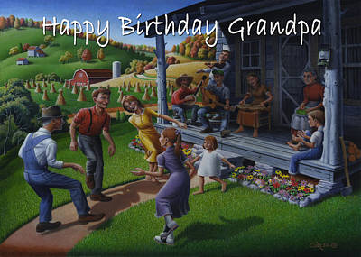 No 23 Happy Birthday Grandpa Greeting Card Original by Walt Curlee