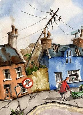 Pram Painting - No Parking by Val Byrne