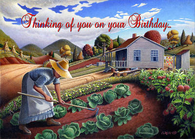 Grandmothers Birthday Painting - no13a Thinking of you on your Birthday by Walt Curlee