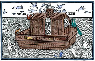 Noahs Ark With Merfolk, 1493 Art Print by Photo Researchers