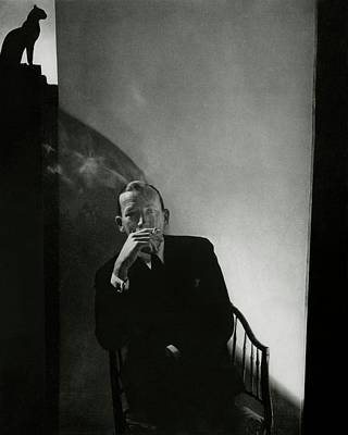 Photograph - Noel Coward Smoking by Edward Steichen