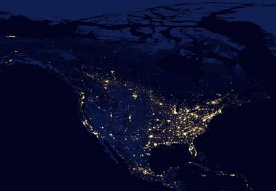 Photograph - North America At Night by Celestial Images