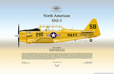 North American Snj-5 Art Print by Arthur Eggers