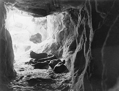 Abbott Photograph - Northern Party Antarctic Ice Cave by Scott Polar Research Institute