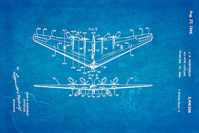 Airplane Photograph - Northrop All Wing Airplane Patent Art 3 1946 Blueprint by Ian Monk