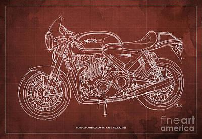 Norton Drawing - Norton Commando 961 Cafe Racer 2011 by Pablo Franchi